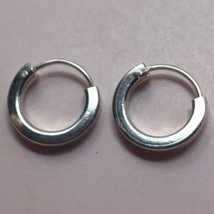 """Petite tiny sterling silver hoops 1/2"""""""